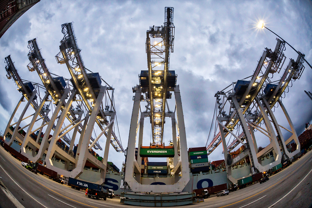 Post-Panamax ship to shore cranes work cargo import and export at the Georgia Ports Authority Port of Savannah at the Garden City Terminal, Thursday, June 29, 2017, in Garden City, Ga.  (GPA Photo/Stephen B. Morton)
