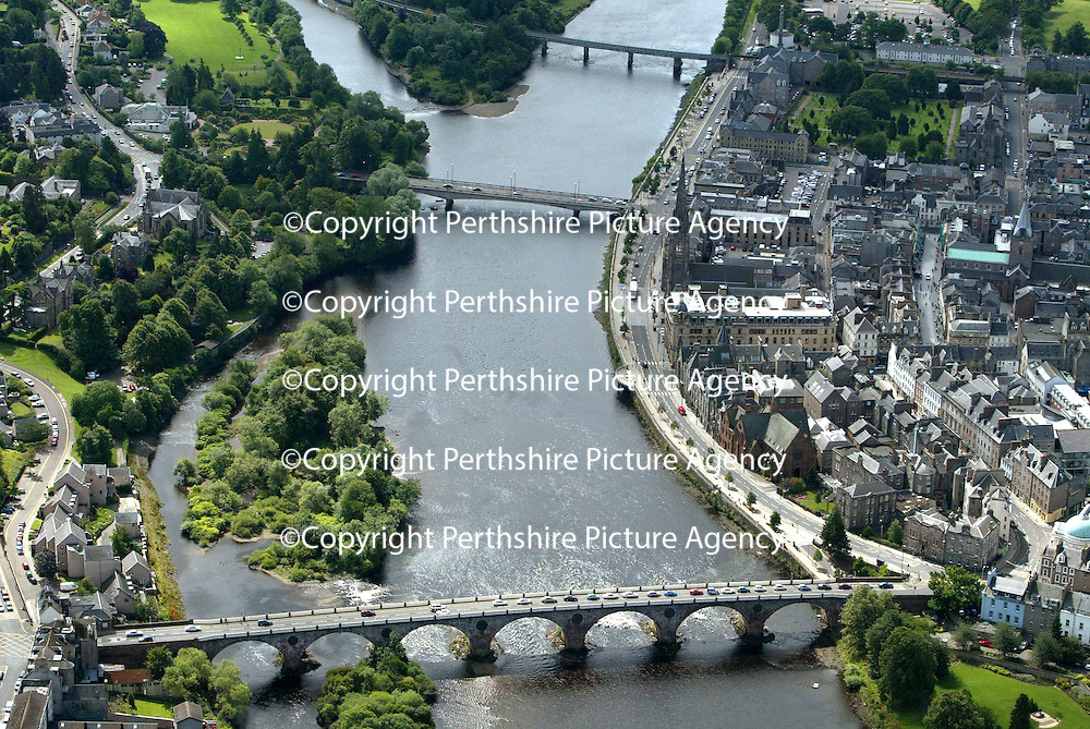 An aerial view of Perth, showing the River Tay, Queens Bridge and Rodney Gardens.<br />