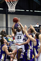 30 December 2006: In traffic, Darius Gant makes room for a shot. The Titans outscored the Britons by a score of 94-80. The Britons of Albion College visited the Illinois Wesleyan Titans at the Shirk Center in Bloomington Illinois.<br />