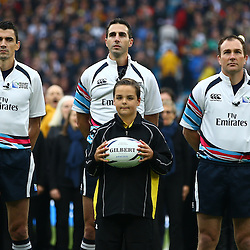 LONDON, ENGLAND - OCTOBER 18: Pascal Gauzère (France) with Referee Craig Joubert (South Africa) and Glen Jackson (New Zealand) during the Rugby World Cup Quarter Final match between Australia v Scotland at Twickenham Stadium on October 18, 2015 in London, England. (Photo by Steve Haag)