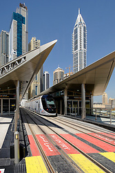 New Dubai tram at station in Marina district of New Dubai in United Arab Emirates