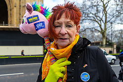 A dual nationality British German woman 's badge says she is not a bargaining chip - some expatriate EU and British Nationals feel that their security of tenure in the countries where they live and work is under threat and that politicians are using their plight as leverage. London, January 14 2019.