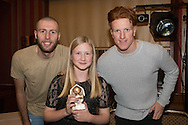 Chloe Finnegan, Monifieth Ladies Fire under 13s coach's player of the year pictured with Dundee United's Lewis Toshney and Simon Murray at Monifieth Ladies presentation evening at the Panmure Hotel, Monifieth - Photo: David Young, <br /> <br />  - &copy; David Young - www.davidyoungphoto.co.uk - email: davidyoungphoto@gmail.com