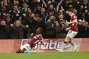 Aston Villa striker(on loan from Chelsea) Tammy Abraham (18) scores a goal and celebrates  2-2 during the EFL Sky Bet Championship match between Aston Villa and Nottingham Forest at Villa Park, Birmingham, England on 28 November 2018.
