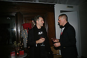 STEVEN MACKEY AND GILES DEACON, Gap/ Red launch Dinner hosted by  Katie Grand at Bistrotheque. Bethnal Green. London. 29 November 2007.  -DO NOT ARCHIVE-© Copyright Photograph by Dafydd Jones. 248 Clapham Rd. London SW9 0PZ. Tel 0207 820 0771. www.dafjones.com.