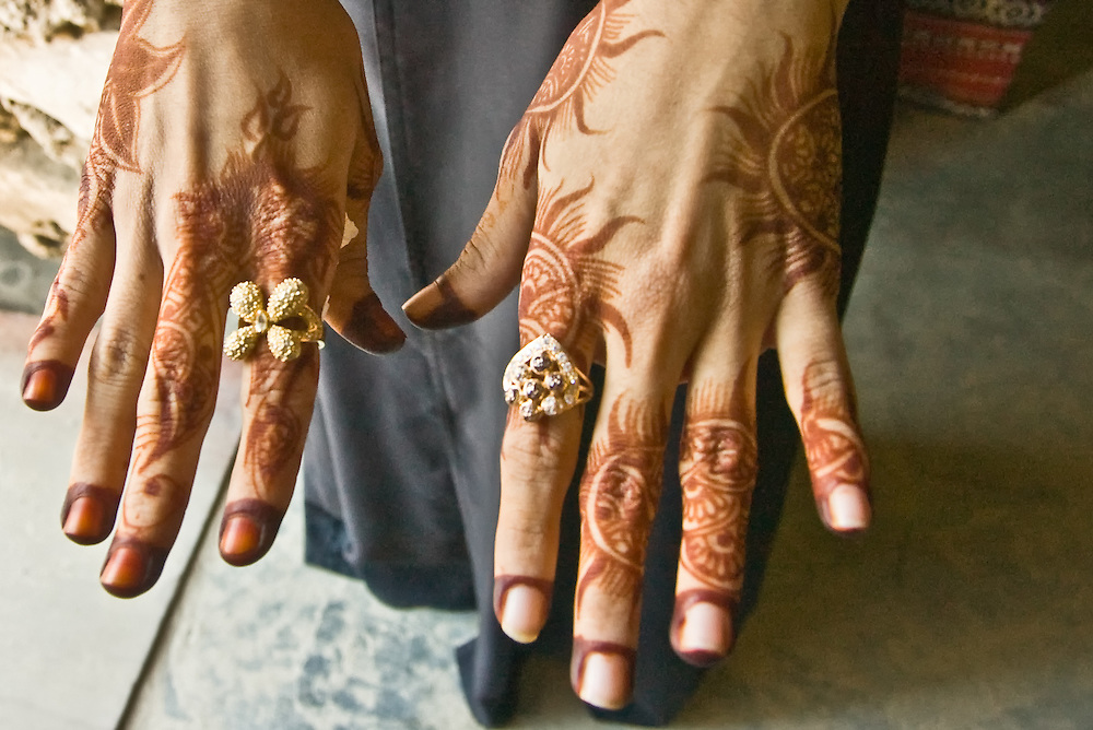 Young hands painted with henna in Muslim country