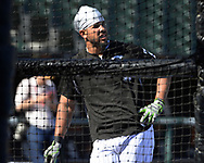 CHICAGO - MAY 23:  Jose Abreu #79 of the Chicago White Sox looks on during batting practice prior to the game against the Baltimore Orioles on May 23, 2018 at Guaranteed Rate Field in Chicago, Illinois.  (Photo by Ron Vesely)  Subject: Jose Abreu