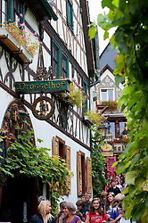 Famous tourist Drosselgasse Street in popular town of Rudesheim on River Rhine in Germany