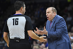 November 14, 2018 - Minneapolis, MN, USA - Minnesota Timberwolves head coach Tom Thibodeau argues with official David Guthrie (16) in the second quarter against the New Orleans Pelicans on Wednesday, Nov. 14, 2018, at Target Center in Minneapolis. (Credit Image: © Aaron Lavinsky/Minneapolis Star Tribune/TNS via ZUMA Wire)