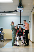Patients use Gorbel Medical's Safegait at University of Rochester Medical Center/Strong Memorial Hospital in Rochester on Monday, January 25, 2016.