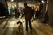 New York City, US, 12 February 2013. Terriers and their handlers are about to enter the show ring at the 137th Westminster Kennel Club Dog Show.