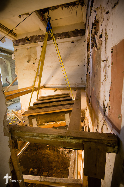 Bones removed from the elevator shaft of the Old Latin School are suspended Wednesday, Jan. 29, 2014, in Wittenberg, Germany. LCMS Communications/Erik M. Lunsford
