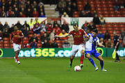 Nottingham Forest midfielder Robert Tesche (32)  and Blackburn Rovers Midfielder Darragh Lenihan (26) battling during the Sky Bet Championship match between Nottingham Forest and Blackburn Rovers at the City Ground, Nottingham, England on 19 April 2016. Photo by Jon Hobley.