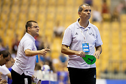 Ricardo Nuno Carvalho Dos Santos, head coach of Portugal during handball match between National teams of Portugal and Slovenia in Semifinal of 2018 EHF U20 Men's European Championship, on July 27, 2018 in Arena Zlatorog, Celje, Slovenia. Photo by Urban Urbanc / Sportida