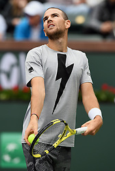 March 10, 2019 - Indian Wells, CA, U.S. - INDIAN WELLS, CA - MARCH 10: Adrian Mannarino (FRA) serving in the second set of a match played at the BNP Paribas Open on March 10, 2019 at the Indian Wells Tennis Garden in Indian Wells, CA. (Photo by John Cordes/Icon Sportswire) (Credit Image: © John Cordes/Icon SMI via ZUMA Press)