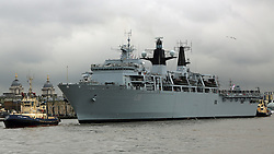 © Licensed to London News Pictures. File pic dated 28/05/2014. HMS Bulwark has arrivees in London for a visit to help mark the 350th anniversary of the Royal Marines in May 2014. HMS Bulwark has been involved in the rescue of 741 people off the coast of southern Italy. Credit : Rob Powell/LNP