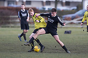 10/02/2018 - Boars Rock (black) v Fife Thistle (yellow) in the Dundee Saturday Morning Football League at Riverside, Dundee, Picture by David Young -