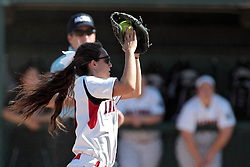 09 May 2014:  Vasi Panos sets up to catch a fly ball during an NCAA Division III women's softball championship series game between the Lake Forest Foresters and the Illinois Wesleyan Titans in Bloomington IL