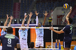December 16, 2017 - Krakow, Poland - Evandro Guerra (8) of Sada Cruzeiro Volei in action against  and Wilfredo Leon Venero (9), Alexander Butko (12) and Artem Volvich (4)  of VC Zenit Kazan during the match between Sada Cruzeiro Volei and VC Zenit kazan during the semi finals of Volleyball Men's Club World Championship 2017 in Tauron Arena. (Credit Image: © Omar Marques/SOPA via ZUMA Wire)