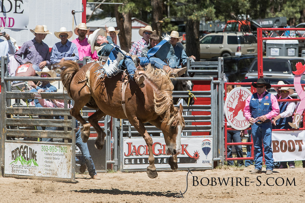 Bryton Buyert rides Summit Pro Rodeo's F4 Trailer Home in the bareback riding during the first performance at the Elizabeth Stampede on Saturday, June 2, 2018.
