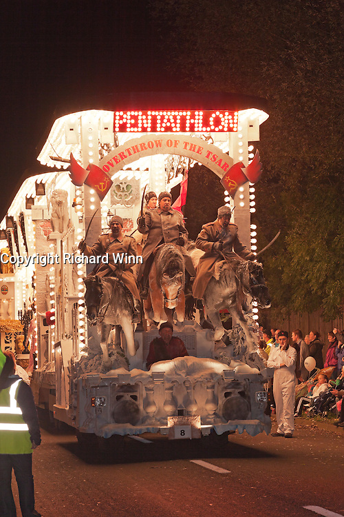 Overthrow of the Tsar Portrait by Pentahlon Carnival Club, in portrait format. Winner of the Tableau class at the 2011 Glastonbury Chilkwell Guy Fawkes Carnival.