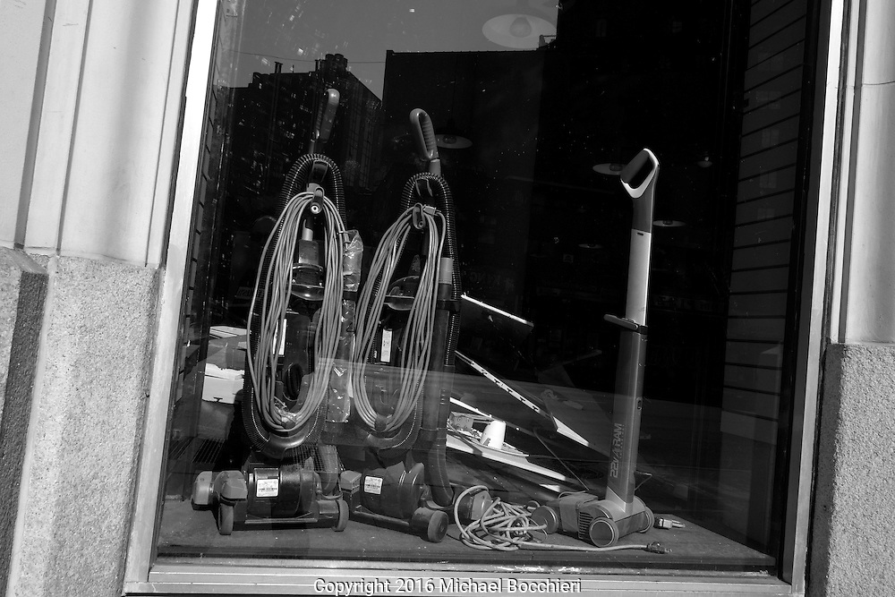 NEW YORK, NY - June 26:  Street abstract of vacuums in a window on June 26, 2016 in NEW YORK, NY.  (Photo by Michael Bocchieri/Bocchieri Archive)