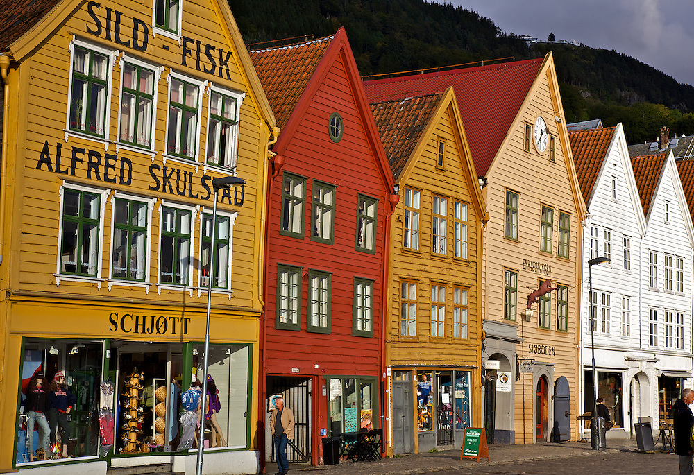 Bryggen (Norwegian for the Wharf), also known as Tyskebryggen (the German Wharf) is a series of Hanseatic commercial buildings lining the eastern side of the fjord coming into Bergen, Norway. Bryggen has since 1979 been on the UNESCO list for World Cultural Heritage sites. These historic shops present a colorful, scenic picture of the Bergen harbor.
