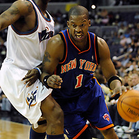 10 March 2007:   New York Knicks guard Steve Francis (1) drives to the basket in the first half against Washington Wizards guard DeShawn Stevenson (2) at the Verizon Center in Washington, D.C.  The Knicks defeated the Wizards 90-89.