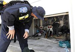 Los Angeles City Fire Department FEMA California Task Force 1 goes house-to-house looking for residents in Cudjoe Key, FL, USA, where Hurricane Irma's eye made landfall, on Tuesday, September 12, 2017. Photo by Taimy Alvarez/Sun Sentinel/TNS/ABACAPRESS.COM