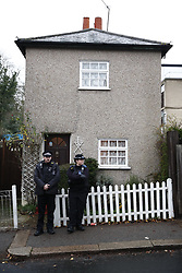 © Licensed to London News Pictures. 05/12/2018. London, UK. The scene at a house in north London where a 77 year old woman has died after a burglary. The victim called Police to her address on Bells Hill around 6.00pm yesterday, after two suspects forced entry and stole her property. During the phone call to the 999 operator the woman collapsed.  She died in hospital this morning. Photo credit: Peter Macdiarmid/LNP