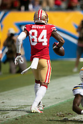 San Francisco 49ers wide receiver Kendrick Bourne (84) dances and celebrates in the end zone after catching a first quarter touchdown pass good for a 14-0 49ers lead during the NFL week 4 regular season football game against the Los Angeles Chargers on Sunday, Sept. 30, 2018 in Carson, Calif. The Chargers won the game 29-27. (©Paul Anthony Spinelli)