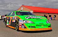 Feb. 20, 2010; Fontana, CA, USA; NASCAR Nationwide Series driver Danica Patrick after qualifying at the Slaters Brothers 300 at Auto Club Speedway. Mandatory Credit: Jennifer Stewart-US PRESSWIRE