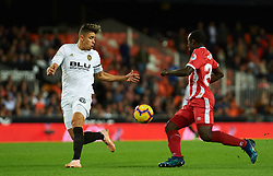 November 3, 2018 - Valencia, Valencia, Spain - Gabriel Paulista of Valencia CF and Seydoy Doumbia of Girona FC during the La Liga match between Valencia CF and Girona FC at Mestala Stadium on November 3, 2018 in Valencia, Spain (Credit Image: © AFP7 via ZUMA Wire)