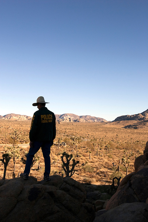 Undercover federal agent in Joshua Tree National Park in the deserts of Southern California.