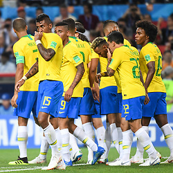 Paulinho and team of Brazil celebrate during the FIFA World Cup Group E match between Serbia and Brazil on June 27, 2018 in Moscow, Russia. (Photo by Anthony Dibon/Icon Sport)