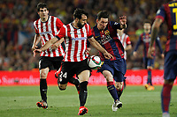 Barcelona´s Leo Messi (R) and Athletic de Bilbao´s Mikel Balenziaga during 2014-15 Copa del Rey final match between Barcelona and Athletic de Bilbao at Camp Nou stadium in Barcelona, Spain. May 30, 2015. (ALTERPHOTOS/Victor Blanco)