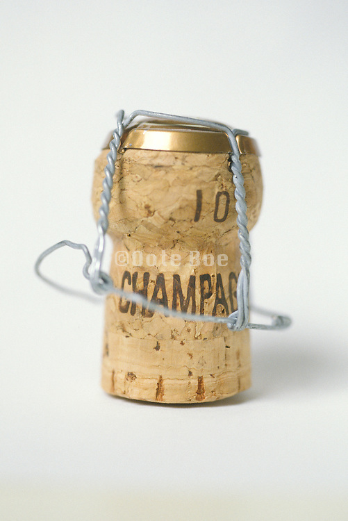 still life with cork from champagne bottle