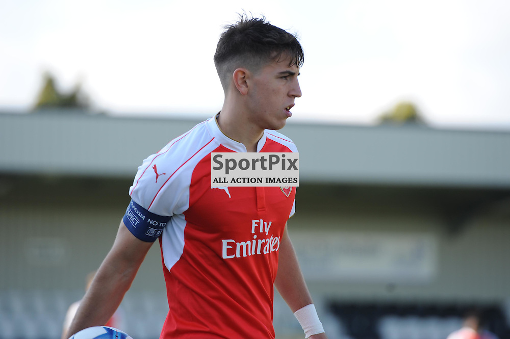 Arsenals Julio Pleguezelo in action during the Arsenal u19 v Bayern Munich u19 match on Tuesday 20th October 2015 in the UEFA Youth League at Borehamwood