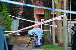 &copy; Licensed to London News Pictures.10/01/2018<br /> Chislehurst, UK.<br /> CHISLEHURST MURDER. Police Forensic Officer on scene at 4.15PM. An &quot; A&quot;  marks the spot the 18 year old was found.<br /> Police Inner Cordon around the scene.<br /> A murder investigation has been launched in Chislehurst after an 18-year-old man was assaulted and died from his injuries. Police were called at approximately 21:05hrs on Tuesday, 9 January to reports of a fight on Empress Drive in Chislehurst.Officers attended and found an injured man. He was taken by the London Ambulance Service to a south a London hospital where he later died shortly after 08:00hrs.His next of kin have been informed. <br /> <br /> Photo credit: Grant Falvey/LNP