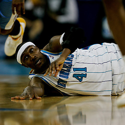 27 April 2009: New Orleans Hornets forward James Posey (41) passes the ball from the floor during game four of the NBA Western Conference Quarterfinals playoffs between the New Orleans Hornets and the Denver Nuggets at the New Orleans Arena in New Orleans, Louisiana.