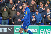 AFC Wimbledon defender Steve Seddon (15) celebrating after scoring goal to make it 1-0 during the EFL Sky Bet League 1 match between AFC Wimbledon and Doncaster Rovers at the Cherry Red Records Stadium, Kingston, England on 9 March 2019.