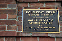 COOPERSTOWN, NY - JULY 25: Detail view of the plaque at Doubleday Field on July 25, 2015 in Cooperstown, NY. (Photo by Jennifer Stewart/Arizona Diamondbacks/Getty Images)