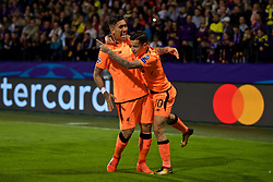 MARIBOR, SLOVENIA - Tuesday, October 17, 2017: Liverpool's Roberto Firmino celebrates scoring the first goal with team-mate Philippe Coutinho Correia during the UEFA Champions League Group E match between NK Maribor and Liverpool at the Stadion Ljudski vrt. (Pic by David Rawcliffe/Propaganda)