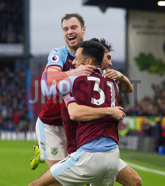 Dwight McNeil of Burnley (C) celebrates after scoring his sides second goal - Mandatory by-line: Jack Phillips/JMP - 30/12/2018 - FOOTBALL - Turf Moor - Burnley, England - Burnley v West Ham United - {event}