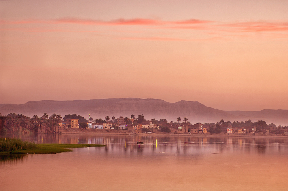 Sunrise colors at the Nile River, Luxor, Egypt
