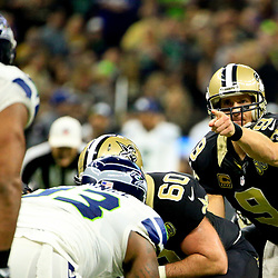 Oct 30, 2016; New Orleans, LA, USA; New Orleans Saints quarterback Drew Brees (9) signals during the second quarter of a game against the Seattle Seahawks at the Mercedes-Benz Superdome. Mandatory Credit: Derick E. Hingle-USA TODAY Sports