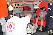 Child inside an Israeli Magen David Adom Ambulance
