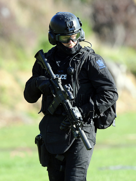 Police Special Tactics Group take part in an public open day display as part of the 50 year celebration of the AOS (Armed Offenders Squad) at the Royal Police College, Porirua, New Zealand, Saturday, August 09, 2014. Credit:SNPA / Ross Setford