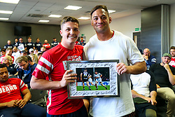 Callum Sheedy thanks Jack Lam as the Bristol Bears squad gather to make presentations to departing players after the Bristol Bears Team Run ahead of the Sale Sharks Game - Rogan/JMP - 02/05/2019 - RUGBY UNION - Ashton Gate Stadium - Bristol, England - Bristol Bears v Sale Sharks - Gallagher Premiership Rugby.