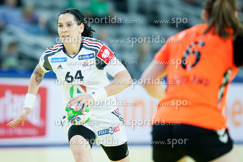 Alexandra Lacrabere #64 of France and Laura Van Der Heijden #6 of Netherlands at handball match between Netherlands and France at 11th EHF European Women's Handball Championship Hungary-Croatia 2014, on December 17, 2014 in Arena Zagreb, Zagreb, Croatia. Photo By Urban Urbanc / Sportida